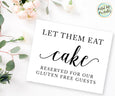 Gluten Free Wedding Cake Sign Printable, let them eat cake