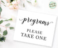 Programs Please take one wedding program sign printable