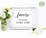 Wedding Favors Sign, Favors Please Take One Wedding Printable
