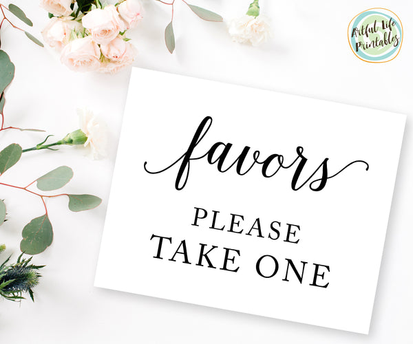 Favors Please take one sign wedding sign printable