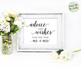 Advice and Wishes Sign for Bride and Groom wedding printable