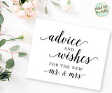 Advice and Wishes Sign for Bride and Groom