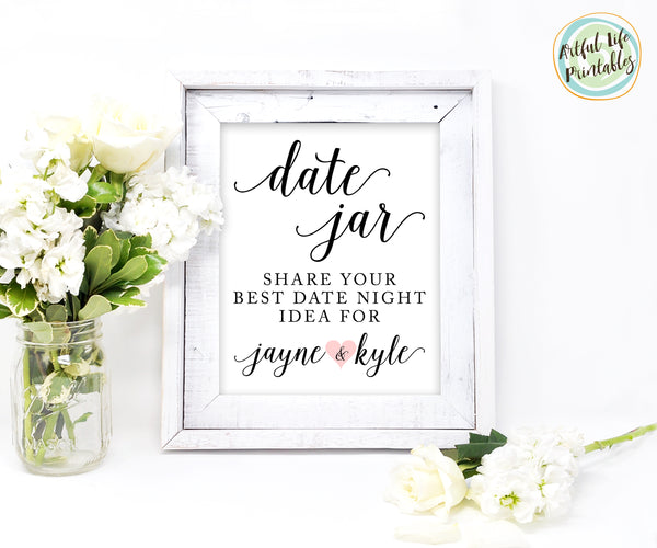date jar sign wedding printable