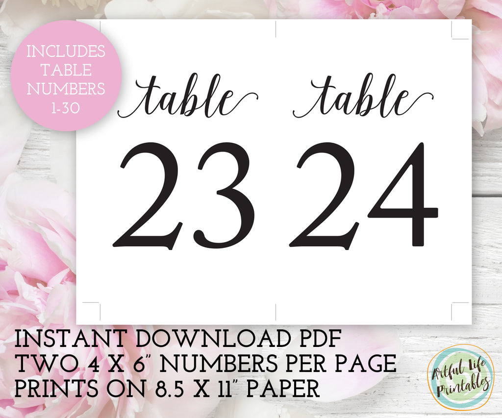 Wedding Table Numbers Printable 1-30
