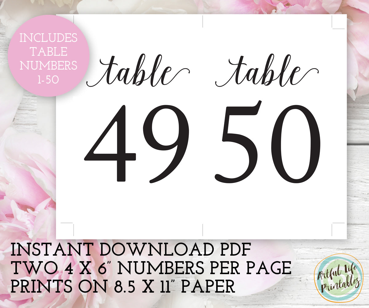 Wedding Table numbers 1-50 printable