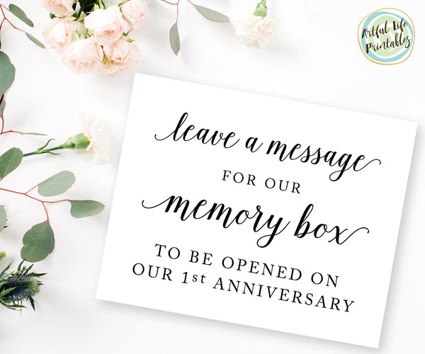 Leave a message for our memory box wedding printable