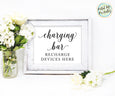 Charging bar sign, mobile device charging station, wedding printable