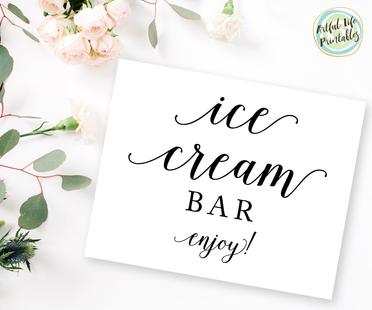 ice cream bar sign, wedding printable