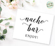 Nacho bar sign wedding printable