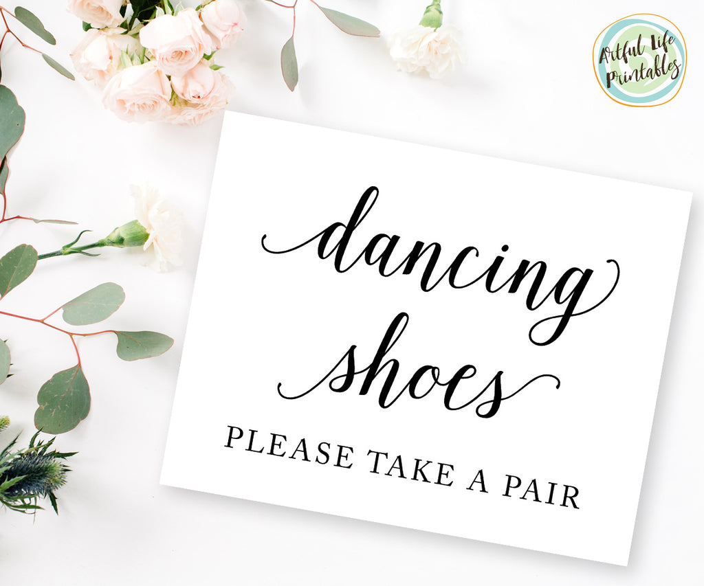 wedding dancing shoes, flip flops sign printable
