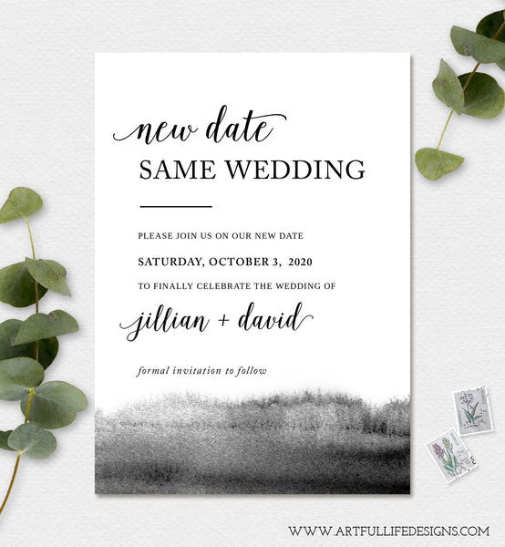 Change of Wedding Date, New Wedding Date, Rescheduled Wedding, Digital Announcement, Editable, Instant Download Template