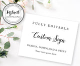 10 x 8 Custom Sign Editable Template for Wedding, Shower or Party