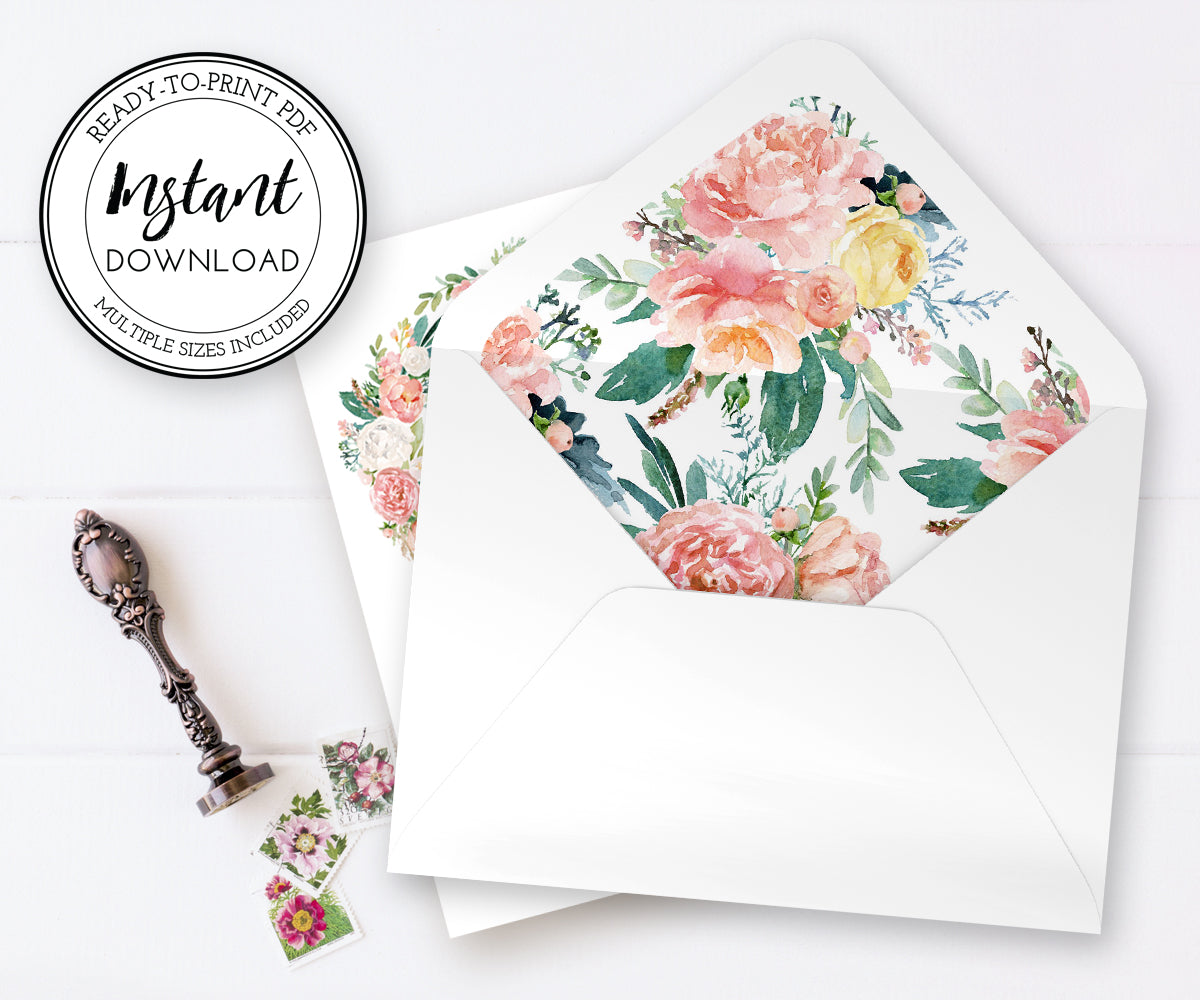 Pink Blush Floral Envelope liners, Instant download PDF, A7.5, A7, A2, A1 or 4 bar, Euro Flap, Square Flap, DIY invitation envelope liners
