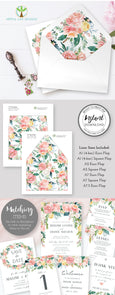 Pink Blush Floral Envelope liners, Instant download PDF, A7.5, A7, A2, A1 or 4 bar, Euro Flap, Square Flap, DIY invitation envelope liners, Artful Life Designs