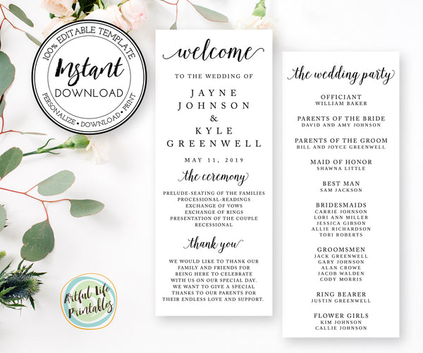 Editable Wedding Program, Wedding Ceremony Card Program Template