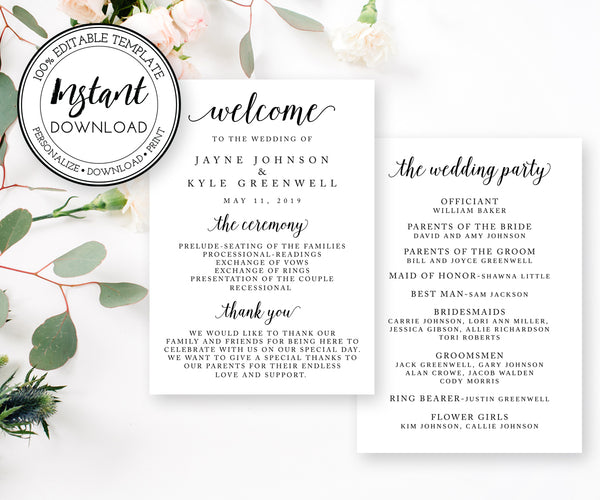 5 x 7 Wedding Program Template, Editable Wedding Program