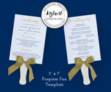 Editable Wedding Program Fan Template 5 x 7