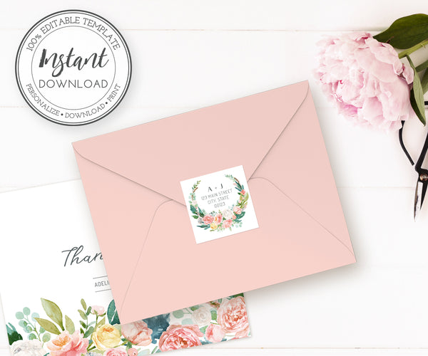 Floral Pink Blush square wedding address labels template instant download