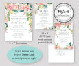 Watercolor Floral Wedding Invitation Suite Templates