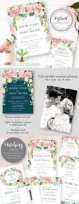 Pink Blush Watercolor Floral Wedding Invitation Suite Templates, Artful Life Designs