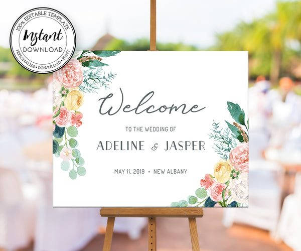 Floral Wedding or Bridal Shower Horizontal Welcome Sign Template, Editable Instant Download