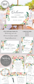 Floral Wedding or Bridal Shower Horizontal Welcome Sign Template, Editable Instant Download, Artful Life Designs
