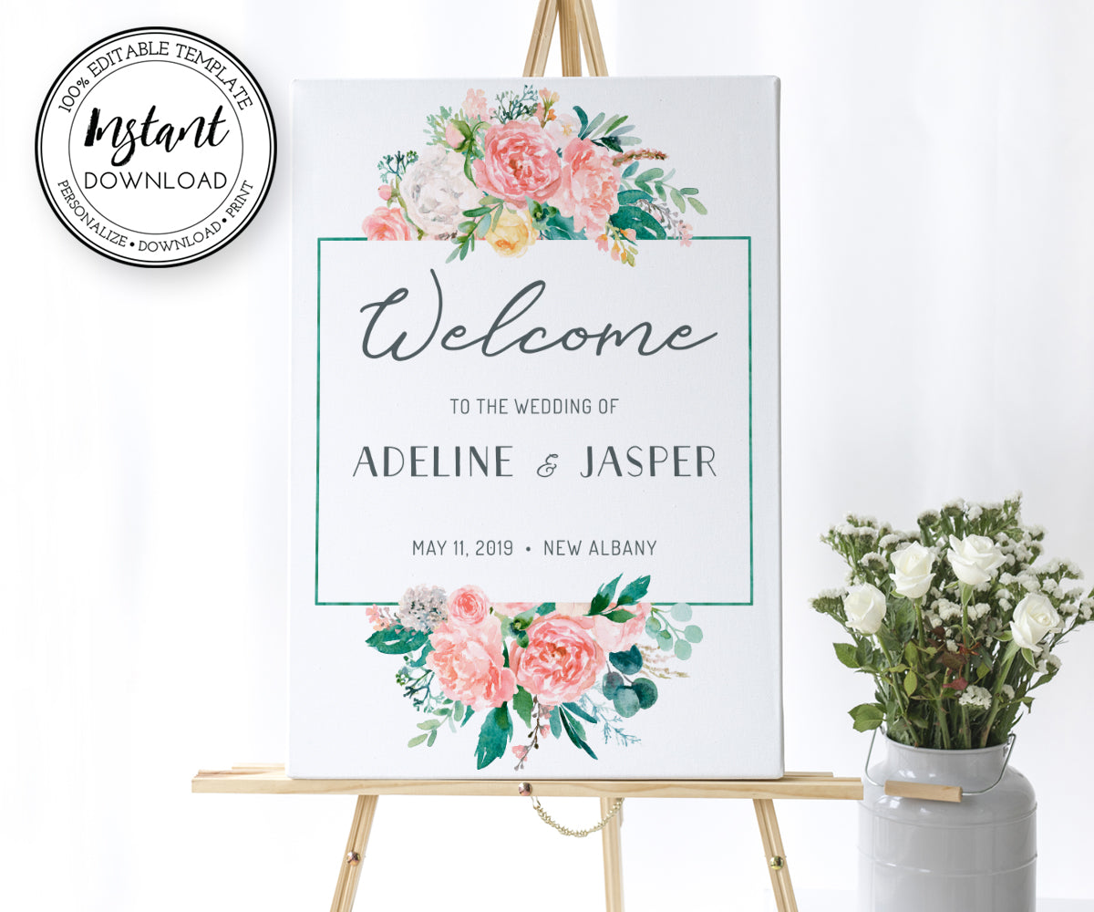 Floral Wedding or Bridal Shower Welcome Sign, Portrait, Vertical, Instant Download Editable Template