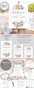 Floral Wedding or Bridal Shower Welcome Sign, Portrait, Vertical, Instant Download Editable Template, Artful Life Designs