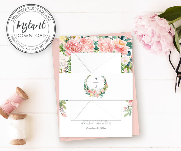Pink blush floral wedding invitation wrap, invitation belly band, editable template