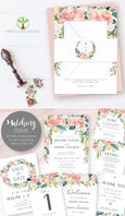 Pink blush floral wedding invitation wrap, invitation belly band, editable template, Artful Life Designs