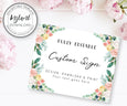 Pink Blush Floral Horizontal Custom Sign Template Instant Download