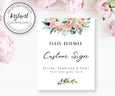 "Pink blush floral 8 x 10"" custom sign template, instant download"