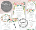 Pink blush floral wedding stationery matching items