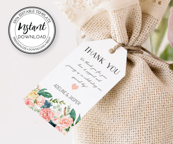 Pink Blush Floral Favor Tags, Editable Wedding, Shower, Party Favor Tag Template, boho favor tags, rustic favor tags
