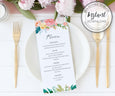 Floral Wedding Menu Editable Template 3.68 x 9 inches