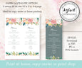 Floral Wedding Menu Editable Template 3.68 x 9 inches file options