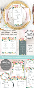 Pink Blush Floral Wedding Menu Editable Template 3.68 x 9 inches, Artful Life Designs
