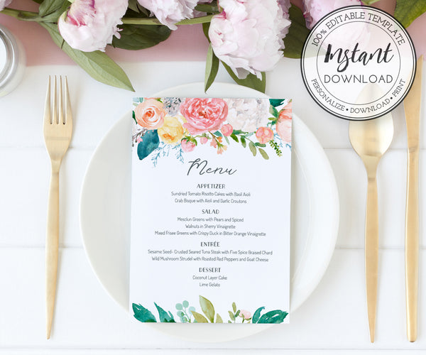 Floral Wedding Menu Editable Template 5 x 7