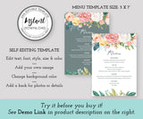 Floral Wedding Menu Editable Template 5 x 7 front and back