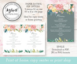 Floral Wedding Menu Editable Template 5 x 7 File options