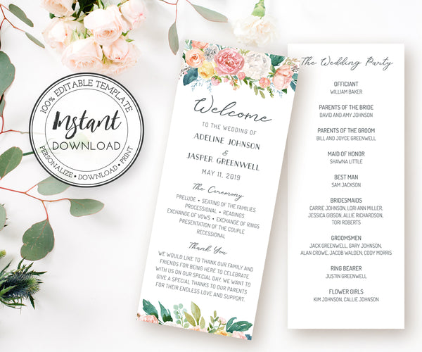 Floral Wedding program 3.68 x 9 inch