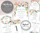 Floral wedding stationery matching items