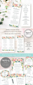 Floral Wedding program 3.68 x 9 inch, Instant Download Template, Artful Life Designs