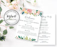 5 x 7 Floral wedding program editable template