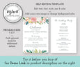 Floral Wedding Program Template, Editable Wedding Printable, Order of Service Program