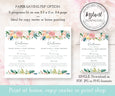 5 x 7 Floral wedding program editable template download options