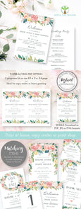 5 x 7 Floral wedding program editable template, Floral wedding invitation, Boho wedding invitation