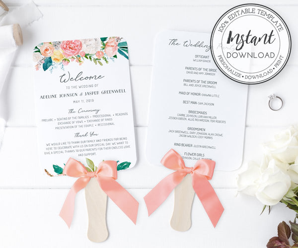floral wedding program fan template 5 x 7
