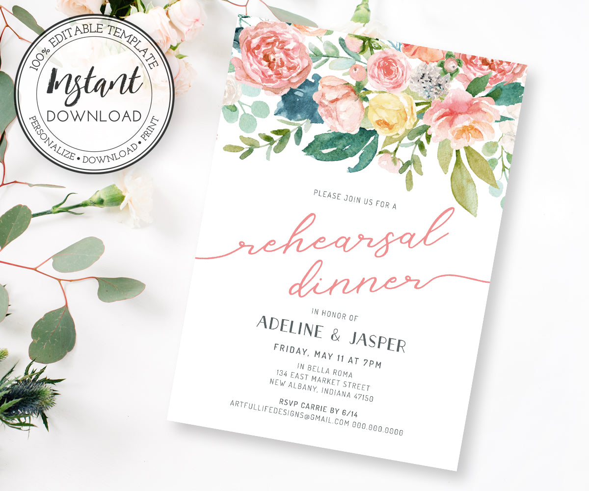 Pink blush floral wedding rehearsal dinner invitation template 5 x 7
