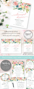 Pink blush floral wedding rehearsal dinner invitation template 5 x 7, Artful Life Designs